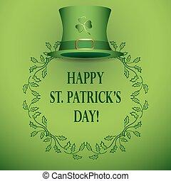 -, rue, vecteur, arrière-plan vert, chapeau, patrick's, jour