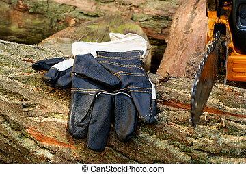 -, säge, schützende handschuhe, kette