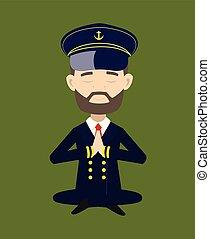 -, séance, capitaine, bateau, prier, pilote