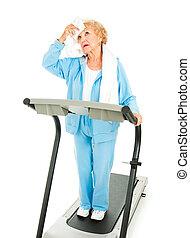 -, séance entraînement, chaud, personne agee, fatigué