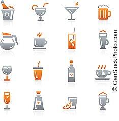 --, série, boissons, graphite, icônes