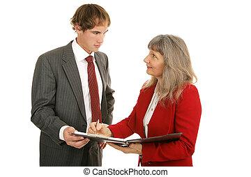 -, série, figures, réexaminer, ventes, mentoring