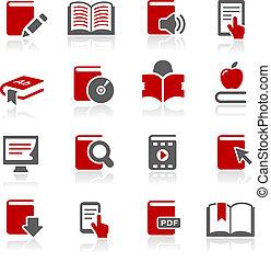 --, série, redico, livro, ícones