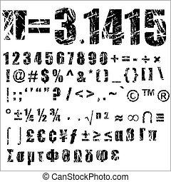 -, símbolo, 2, grunge, número