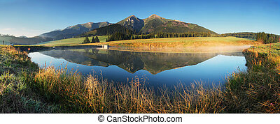 -, sø, panorama, tatras, solopgang, slovakia, bjerg