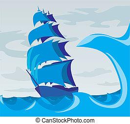 -, sailer, esprit, mer, adven