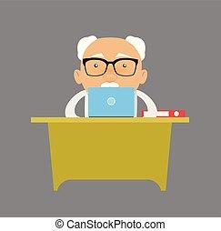 -, saliência, homem negócios, antigas, trabalhando, laptop
