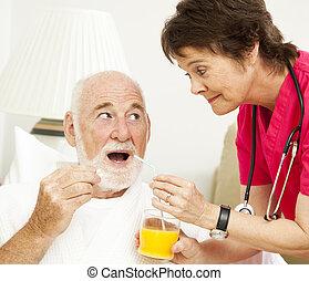 -, santé, prenant médicament, maison, infirmière