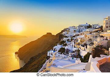 -, santorini, 傍晚, 希臘
