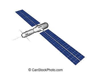-, satélite, aislar