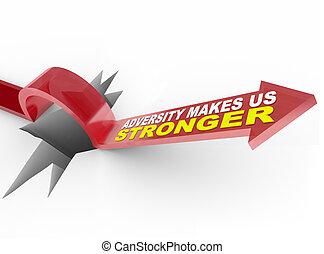-, sauts, plus fort, nous, flèche, trou, marques, sur, adversité