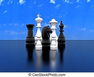 -, scacchi, illustrazione, 3d