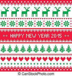 -, scandinavische, jaar, 2015, nieuw, vrolijke