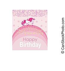 -, scheda, unicorno, arcobaleno, camminare, testo, compleanno, posto, tuo, carino