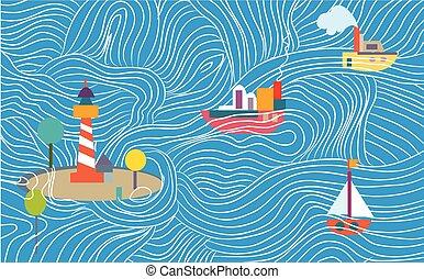 -, schepen, kinderachtig, gekke , spandoek, ontwerp, zee