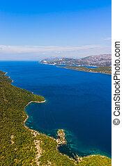 -, schiereiland, adriatisch, kroatië, peljesac, landscape