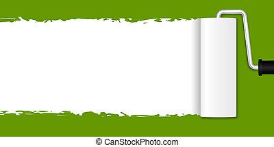 -, schilderij, groene, rol, verf
