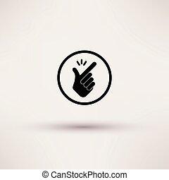 -, schiocco, vettore, fingers., illustrations., icona