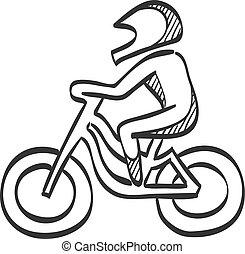 -, schizzo, ciclismo, icona