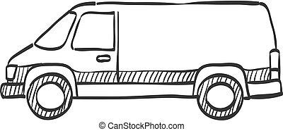 -, schizzo, icona, furgone, automobile