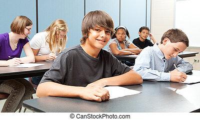 -, schoolklas, breed, spandoek, geitjes