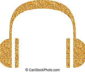 -, scintillement, casque à écouteurs, or, icône, audio