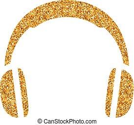 -, scintillement, casque à écouteurs, or, icône