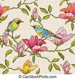 -, scrapbook, fundo, flores, pássaros, seamless, desenho, vindima