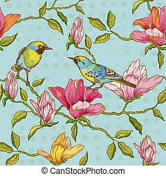 -, scrapbook, vetorial, fundo, flores, pássaros, seamless, desenho, vindima