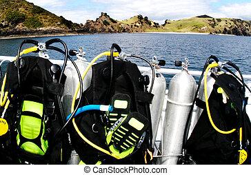 -scuba, desporto, mar, mergulhar