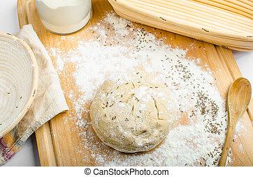 -, scuttle, thuis, mand, vervaardiging, brood