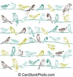 -, seamless, 矢量, 设计, 背景, 剪贴簿, 鸟