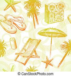 -, seamless, ręka, tropikalny, uciekanie się, wektor, tło, pociągnięty, plaża