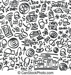-, seamless, symboles, houblon, rap, backrond