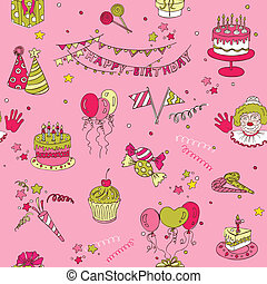 -, seamless, születésnap, vektor, háttér, scrapbook, tervezés