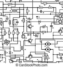 -, seamless, tekstur, diagram, vektor, sort, hvid, elektroniske