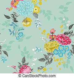 -, seamless, vektor, bakgrund, blommig, urklippsalbum, design