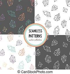 -, seamless, verzameling, hand, motieven, kristallen, getrokken