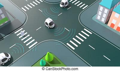 -, self-driving, ożywienie, wozy, 3d