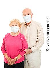 -, senior, bescherming, griep, paar