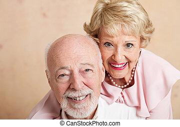 -, senior, closeup, paarportret