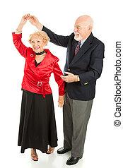 -, senior, kręćcie, taniec