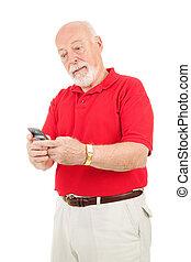 -, senior, texting, frustratie, man