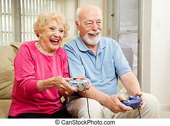-, senior, video, paar, gokken