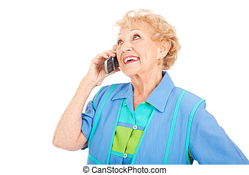 -, senior woman, mobiltelefon