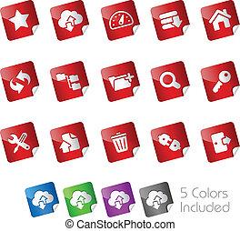 --, serie, pegatinas, hosting, iconos