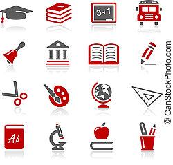 --, serie, redico, educación, iconos