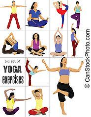 -, set, vettore, yoga, esercizi, grande