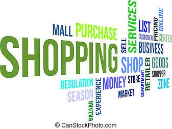 -, shoppen, wolke, wort