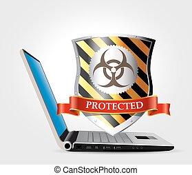 -, sicurezza, concetto, computer, scudo